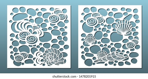 Laser cut panels, vector set. Template for metal cutting or wood carving ,stencil for fretwork, paper art, card background or interior decor pattern. Underwater abstract texture with seashells.
