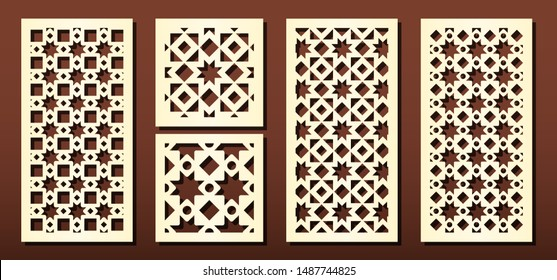 Laser cut panels vector set. Metal cutting or wood carving, fretwork stencil, paper art. Abstract geometric pattern, arabic style. For interior design or card decoration