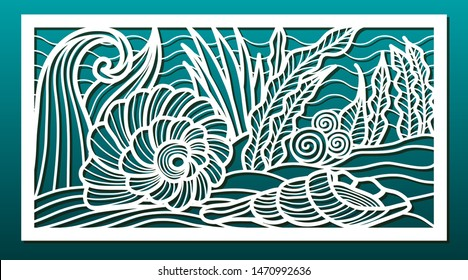 Laser cut panels, vector. Template or stencil for  metal cutting, wood carving, paper art, fretwork, card engraving or home interior decor. Abstract pattern with underwater sea world design.