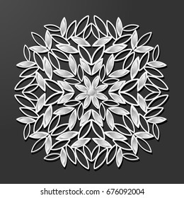laser cut paper and diamond flower vintage circle pattern vector