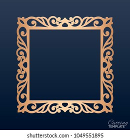 Laser cut paper lace frame, vector illustration. Ornamental cutout photo frame, template for cutting. Abstract vintage background. Element for wedding invitation and greeting card.