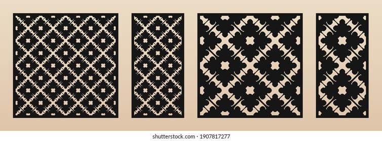 Laser cut pattern set. Vector design with elegant geometric ornament in Arabesque style, abstract floral grid. Template for cnc cutting, decorative panels of wood, metal, paper. Aspect ratio 1:1, 1:2