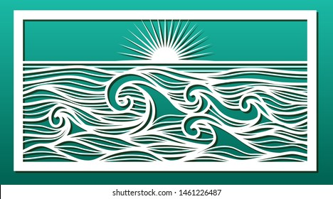 Laser cut pattern. Stencil for wood or metal cutting or carving, paper art, temrplate for fretwork, wall decorative panel for interior design. Sea landscape with waves and sunset. Vector illustration