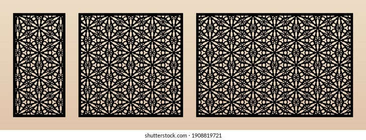 Laser cut patterns. Vector design with elegant geometric ornament, abstract floral grid, snowflake silhouettes. Template for cnc cutting, decorative panels of wood, metal. Aspect ratio 1:2, 1:1, 3:2