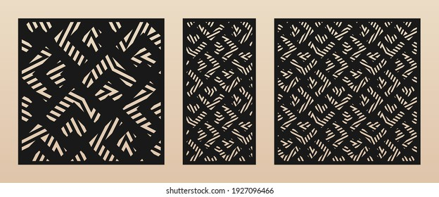 Laser cut patterns. Vector template with abstract geometric ornament, broken lines, chevron, grid, scale. Decorative stencil for laser cutting of wooden panel, metal, paper. Aspect ratio 1:2, 1:1