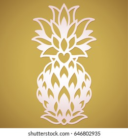 Laser cut pineapple wedding paper decoration template. Party pineapple stationery  4 lazer cutting. Fancy pineapple vector logo ornament design.