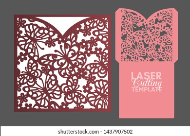 Laser cut pocket envelope template with pattern of butterflies and flowers, vector. Wedding invitation or greeting card with abstract ornament. Suitable for greeting cards, invitations, menus.