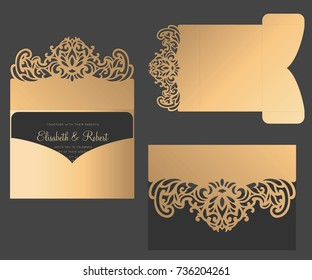 Laser cut pocket envelope. Tri fold Wedding invitation card template. Postcard design.