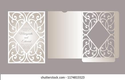 Laser cut pocket frame envelope design.  Ornamental frame for wedding invitation.