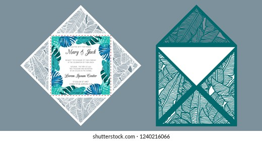 Laser cut square four fold card with patterned corners, Template for wedding invitation card with tropical pattern of banana leaves. Suitable for greeting cards, invitations, menus.