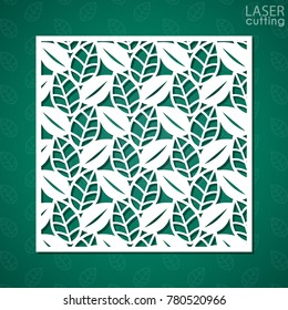 Laser cut square ornamental panel with pattern of leaves. Template of wedding invitation or greeting card. Cabinet fretwork screen. Metal design, wood carving.