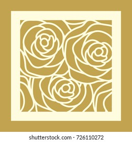 Laser cut square panel with rose pattern. Elegant vector abstract design for wedding favor box, greeting cards, stencil, stamp, gift box, paper, wood, metal cutting.