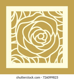 Laser cut square template with rose pattern. Elegant linear vector abstract design for wedding favor box, greeting cards, stencil, stamp, gift box, paper, wood, metal cutting.