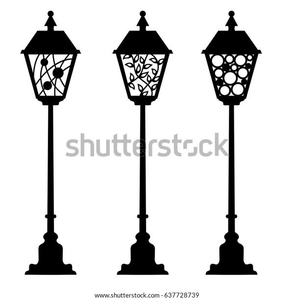 laser cut street lanterns on isolated stock vector. Black Bedroom Furniture Sets. Home Design Ideas