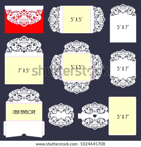 laser cut template big set floral stock vector royalty free