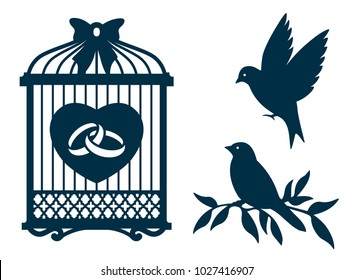 Laser cut template. Birdcage, bird wedding decor for laser or die cutting. Cut out paper frame or card holder for party decoration with bird cage. Vector illustration.