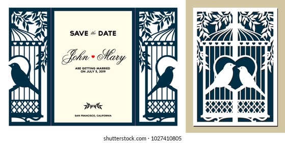 Laser cut template. Birdcage with birds in the foliage. Laser cutting tri-fold lace valentines card. Wedding invitation stationery. Save the date holder. Laser cuttable silhouette. Vector illustration