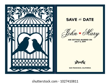 Laser cut template. Birdcage with birds in the foliage. Laser cutting bi-fold lace valentines card. Wedding invitation stationery. Save the date card. Laser cuttable silhouette. Vector illustration.