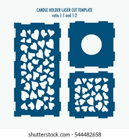 Laser cut template for candle holder. DIY laser cutting template for diy, interior elements, wood carving, paper cutting, scrapbooking. Valentines Day candle holder.