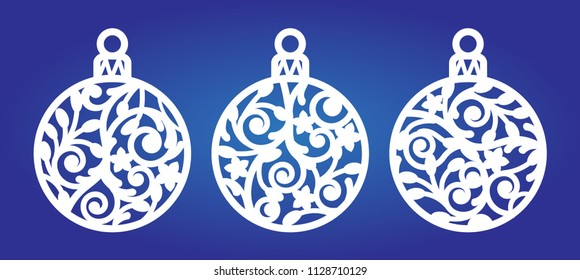Laser cut template of Christmas balls with snowflake. Xmas tree decoration for engraving, wood carving. Vector illustration on blue background. Silhouette of openwork sphere toy with swirl ornament.
