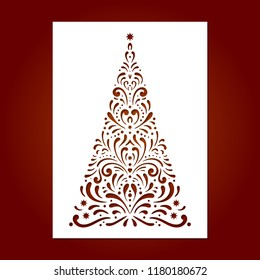 Laser cut template for Christmas cards with christmas tree, invitations for Christmas party. Image suitable for laser cutting, plotter cutting or printing.