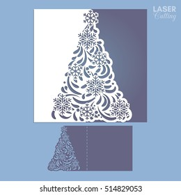 Laser cut template for Christmas cards, square invitation for party with Christmas tree cutout of paper. Image suitable for laser cutting, plotter cutting or printing.