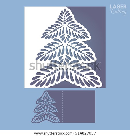 laser cut template for christmas cards square invitation for party with christmas tree cutout of - Laser Cut Christmas Cards