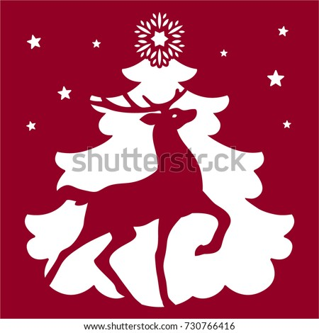 laser cut template christmas deer laser cut card merry christmas and happy new year