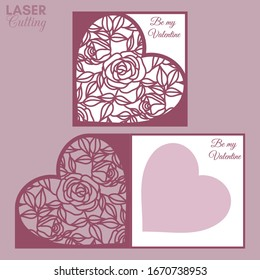Laser cut template of fold card with roses and leaves patterned heart for brochures, wedding invitations or Valentine's Day greeting card.