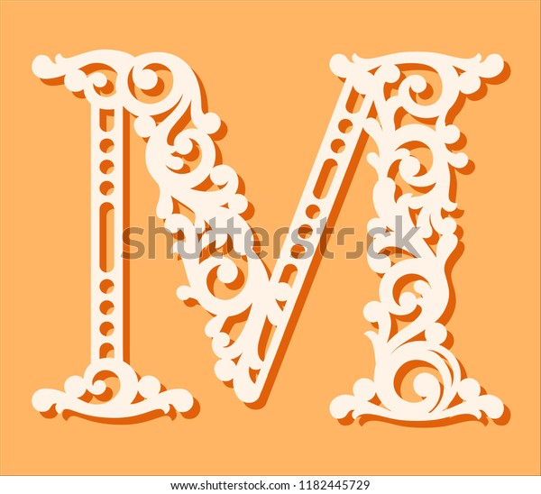 fancy letter s template  Laser Cut Template Initial Monogram Letters Stock Vector ...