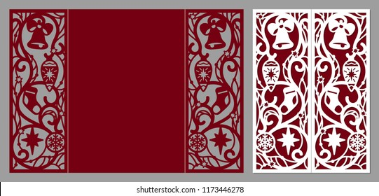 Laser cut template. Merry Christmas and happy New Year fold card. Christmas lace invitation. Greeting laser cutting card with christmas ornament decorations. Vector illustration.
