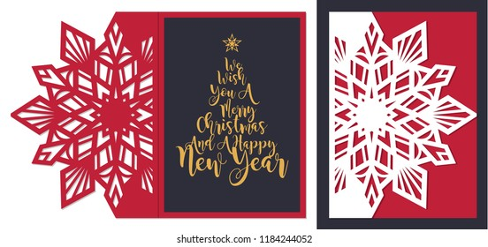 Laser cut template. Merry Christmas and happy New Year fold envelope. Christmas lace invitation. Greeting laser cutting card with sharp snowflake ornament. Paper cutout vector illustration.