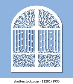 Laser cut template of metal gate with forged ornament and decorative grid. Steel sliding door with lace pattern at vintage style. Openwork vector silhouette. Iron fence isolated on blue background.