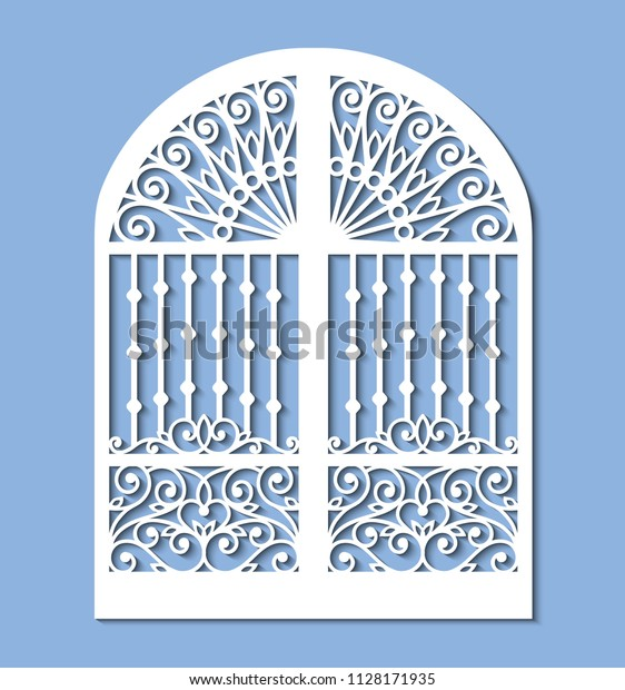 Laser Cut Template Metal Gate Forged Stock Vector (Royalty Free