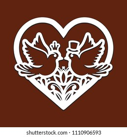 Laser cut template of openwork vector ornament. Frame in shape of heart with dove birds, crown, man top hat. Silhouette of floral wreath for wedding invitation. Vintage border with decorative pattern.