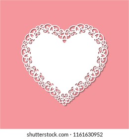 Laser cut template of ornamental frame with openwork decoration on red background. Wedding or Valentine's day invitation card with lacy edge of border. Vintage style. Shape of heart vector silhouette.