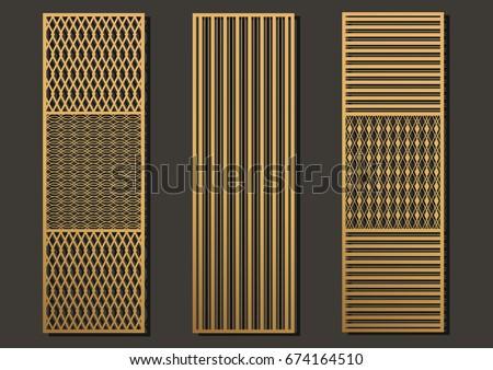 Laser Cut Template Panels Set Die Stock Vector (Royalty Free ...