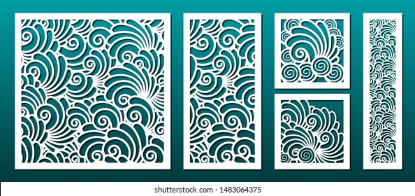 Laser cut template pattern, vector set. Metal cutting or wood carving, panel design, stencil for fretwork, paper art, card background or interior decor. Underwater abstract texture with seashells.