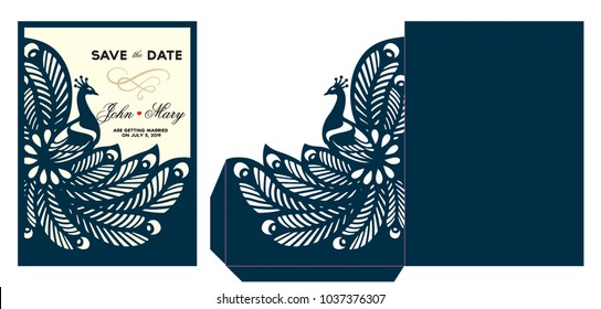 Laser cut template. Peacock lace envelope for die or laser cutting. Wedding invitation stationery. Die cut template save the date card with ornamental bird. Greeting card. Vector illustration.