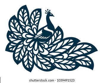 Laser cut template. Peacock silhouette isolated. Vector illustration hand drawn. Vintage paper cut style. Fantasy birds isolated. Ornamental bird for your design.