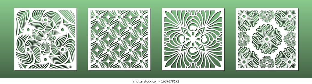 Laser cut template set, abstract geometric pattern. Panel decor for room interior design. Wood, glass, metal cutting. Vector illustration