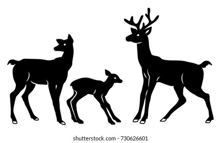 Laser cut template. A set of cutout deer silhouettes. A family group. Newborn fawn with mom and stag. Vector illustration suitable for printing, engraving, laser cutting paper, wood, metal.