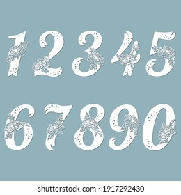 Laser cut template. Set of laser cutting numbers. Fancy floral alphabet. May be used for paper cutting. Floral wooden alphabet font. Filigree cutout pattern. Vector illustration.