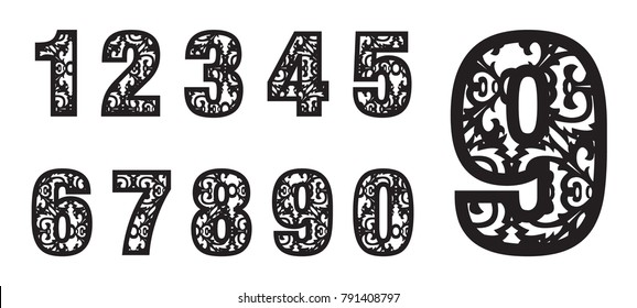 Set Of Laser Cutting Numbers Fancy Alphabet May Be Used