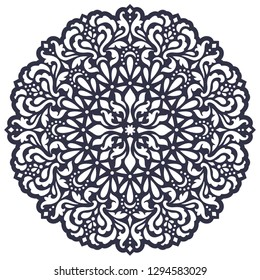 Laser cut template. Stencil. Mandala design.  Round ornament. Ethnic decorative lace doily. Islam, Arabic, Indian, ottoman, persian motifs. Die cutting pattern. Paper cutout. Vector illustration
