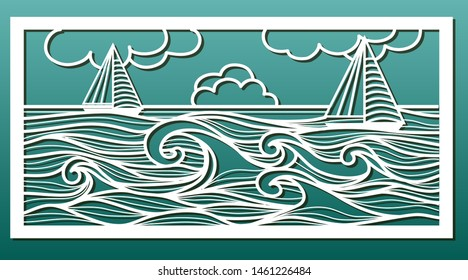 Laser cut template. Stencil for wood or metal cutting or carving, paper art, fretwork, wall decorative panel for interior design. Sea landscape with waves and sailboat. Vector illustration