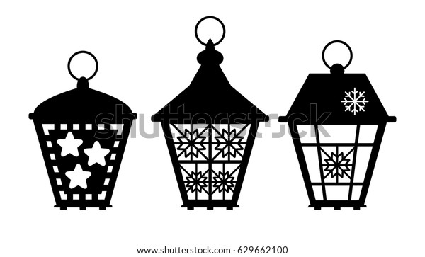 laser cut template street lanterns electric stock vector. Black Bedroom Furniture Sets. Home Design Ideas