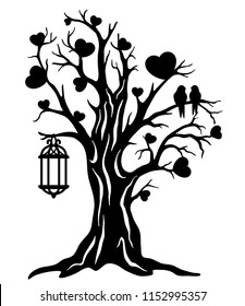 Laser cut template. Tree of love with a couple bird and birdcage. Sign of family tree. Wedding decor. Black and white vector illustration. Silhouette art design. Wood, paper, metal cutting.