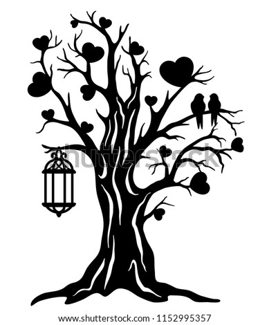 Laser Cut Template Tree Love Couple Stock Vector Royalty Free