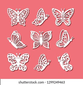 Laser cut template, vector set of butterflies isolated on coral background. Cutout openwork silhouettes full face and profile. Pattern on the ornate lace flying insects for icons for wedding card.